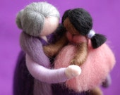 Grandmother with granddaughter fairy tale inspired wool Waldorf