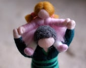 Dad & girl piggyback, Waldorf inspired tale, wool