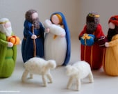 Nativity, King Magi, two sheep, fairy tale wool crib, Waldorf inspiration, Christmas decoration, soft sculpture, collectible doll