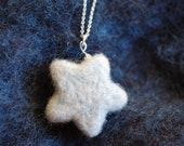 Star necklace, fairytale wool star, Waldorf inspiration