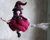 Witch in flight, burgundy, fairytale wool, Waldorf inspiration, home décor