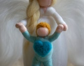 Guardian angel, fairytale wool, Waldorf inspiration, home decor, collectible doll, soft sculpture