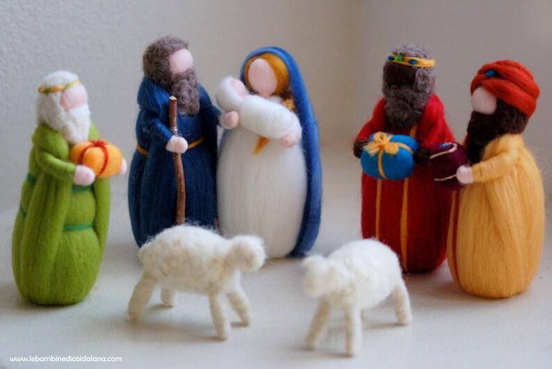 Nativity King Magi two sheep fairy tale wool crib Waldorf image 0