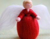 Red Angel, Wool fairy tale, Waldorf inspiration, home decor, collectible doll, soft sculpture
