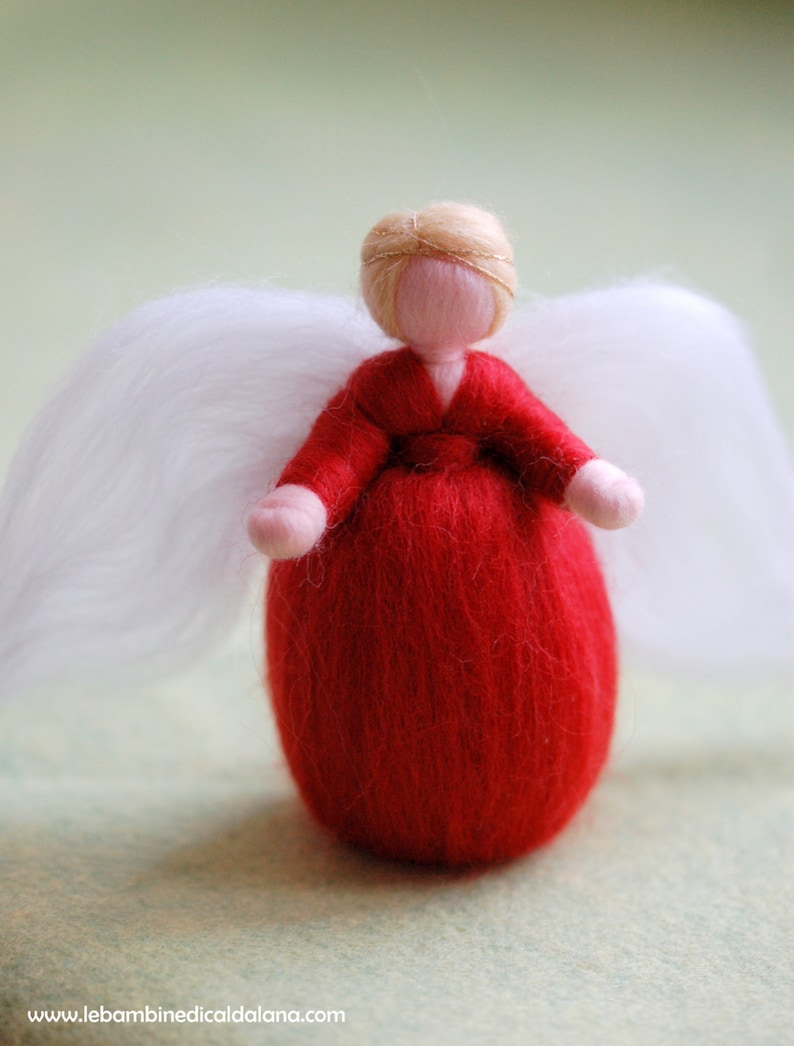 Red Angel Wool fairy tale Waldorf inspiration home decor image 0
