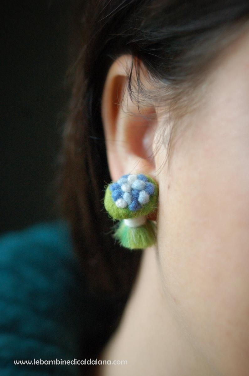 Mazzolini pair lobe earrings fairytale wool Waldorf image 0