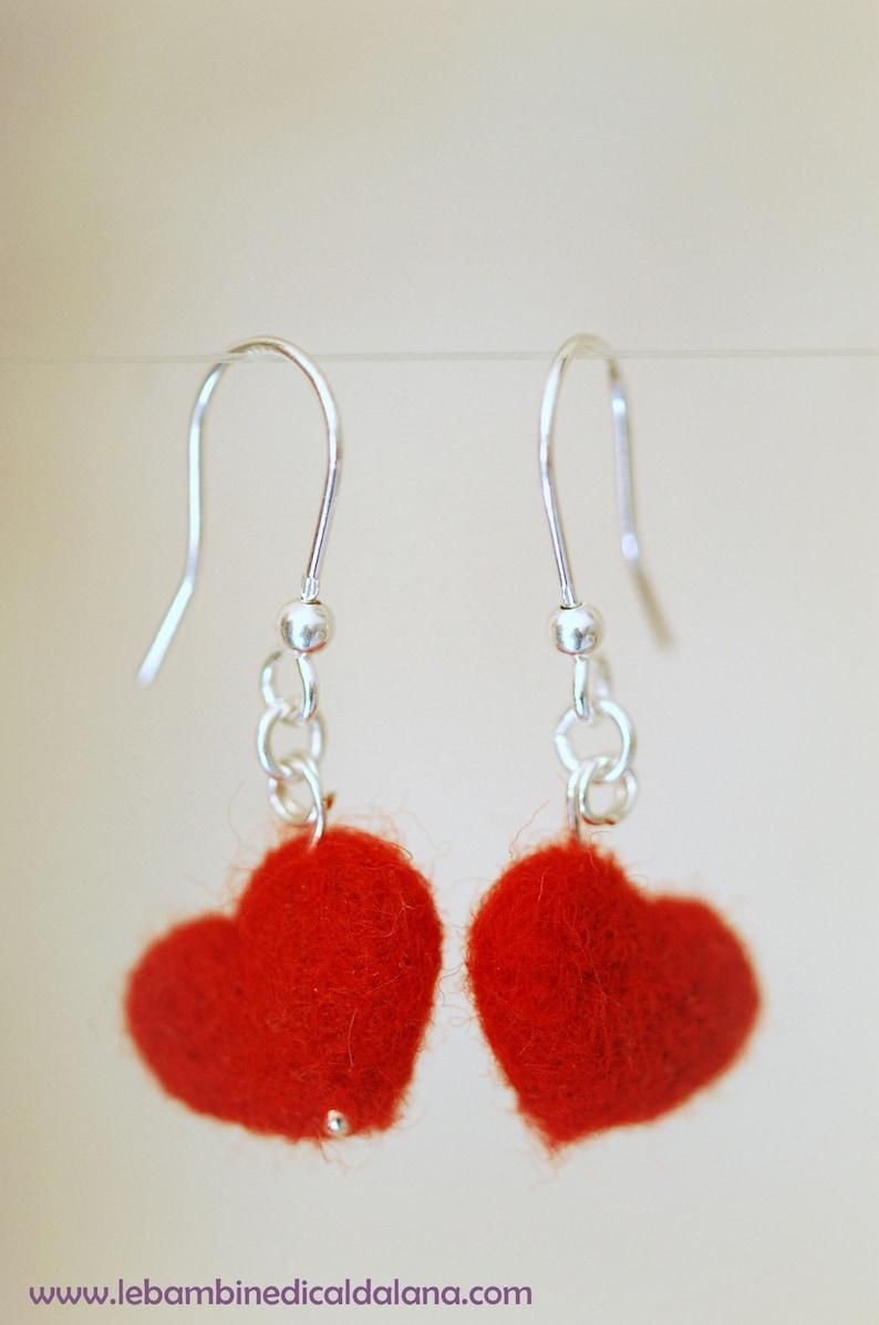 Heart earrings wool fairy tale Waldorf inspiration image 0