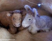 Ox and Donkey, for Nativity wool crib fairy tale inspired Waldorf, Christmas décor, soft sculpture, collectible dolls