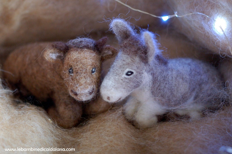 Ox and Donkey for Nativity wool crib fairy tale inspired image 0