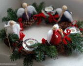Advent wreath, fairy tale wool, Waldorf inspiration, Christmas décor, soft sculpture, woven kiwi branches