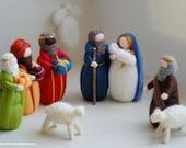 Nativity, Magi, Shepherd, two sheep, Angel, nativity in Wool fairy tale, Waldorf inspiration, Christmas decoration, soft sculpture