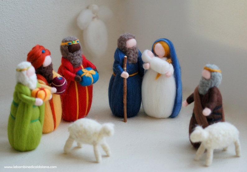 Nativity Magi Shepherd two sheep Angel nativity in Wool image 0