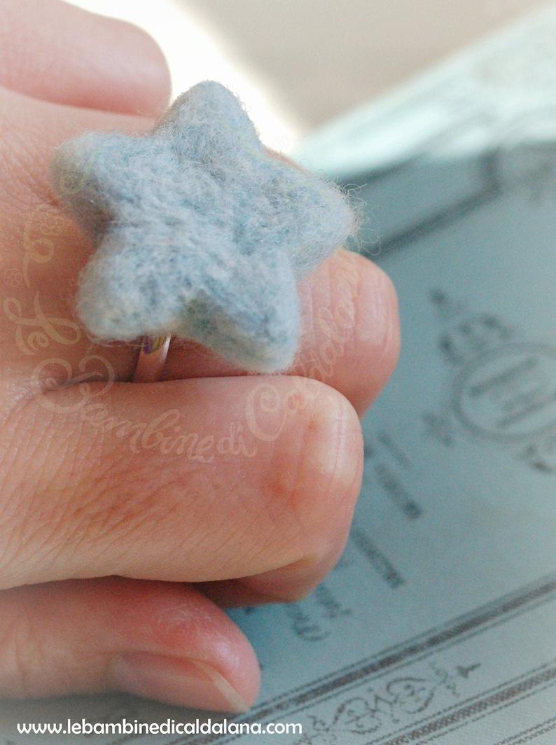 Star ring fairytale wool star Waldorf-inspired image 0