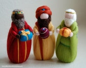 King Magi, three essays in fairy tale wool, Waldorf inspiration, Christmas decoration, soft sculpture, collectible doll