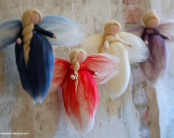 Advent angels, fairytale wool, Waldorf-inspired, home décor, collectible doll, soft sculpture