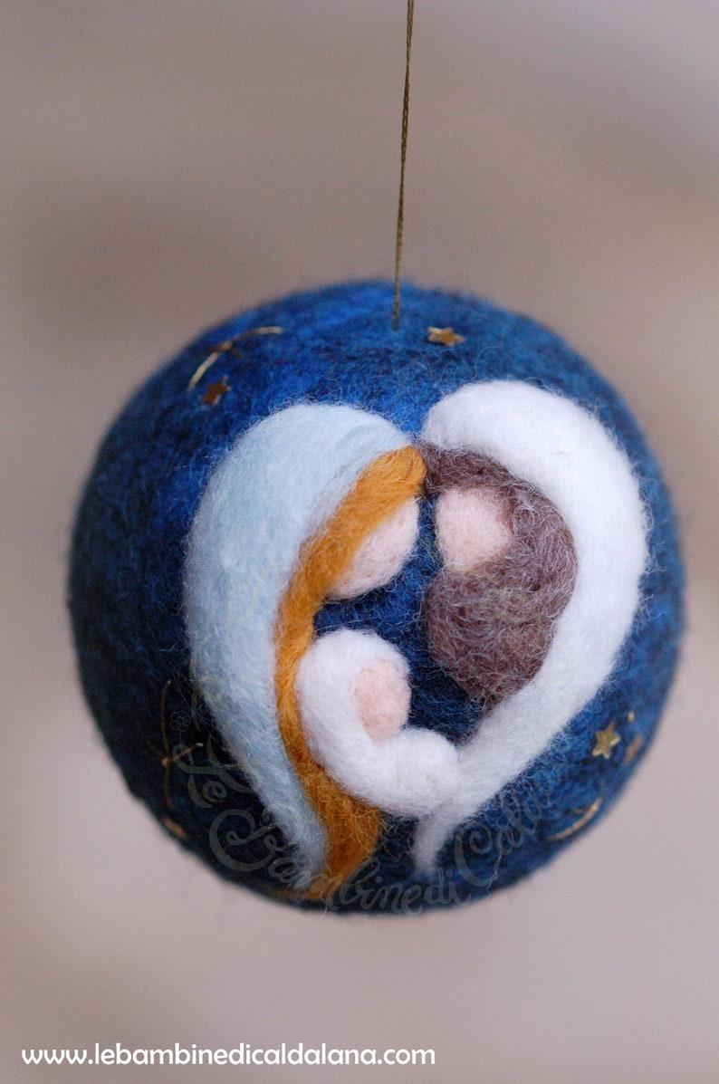 Nativity Christmas ball Waldorf-inspired wool crib image 0