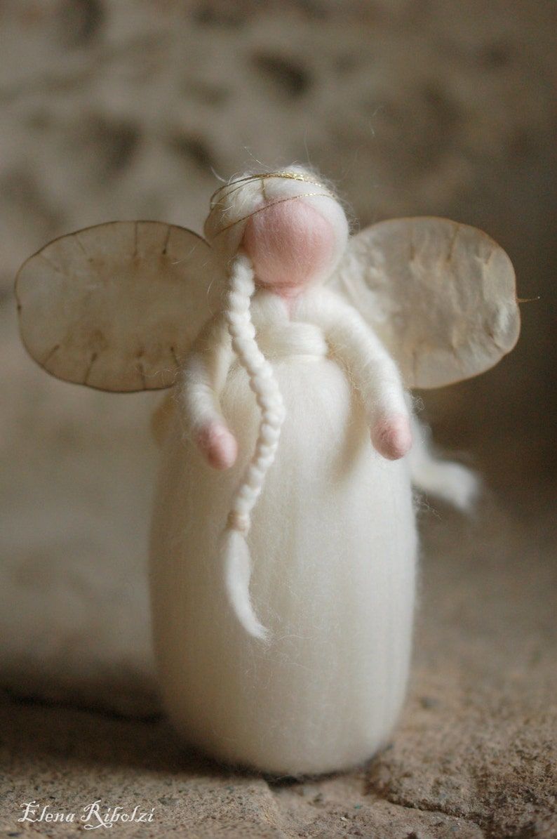 Snow angel Wool fairy tale Waldorf inspiration home decor image 0