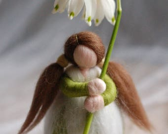 Snowdrops, fairy tale wool dolly, Waldorf inspiration, house decoration