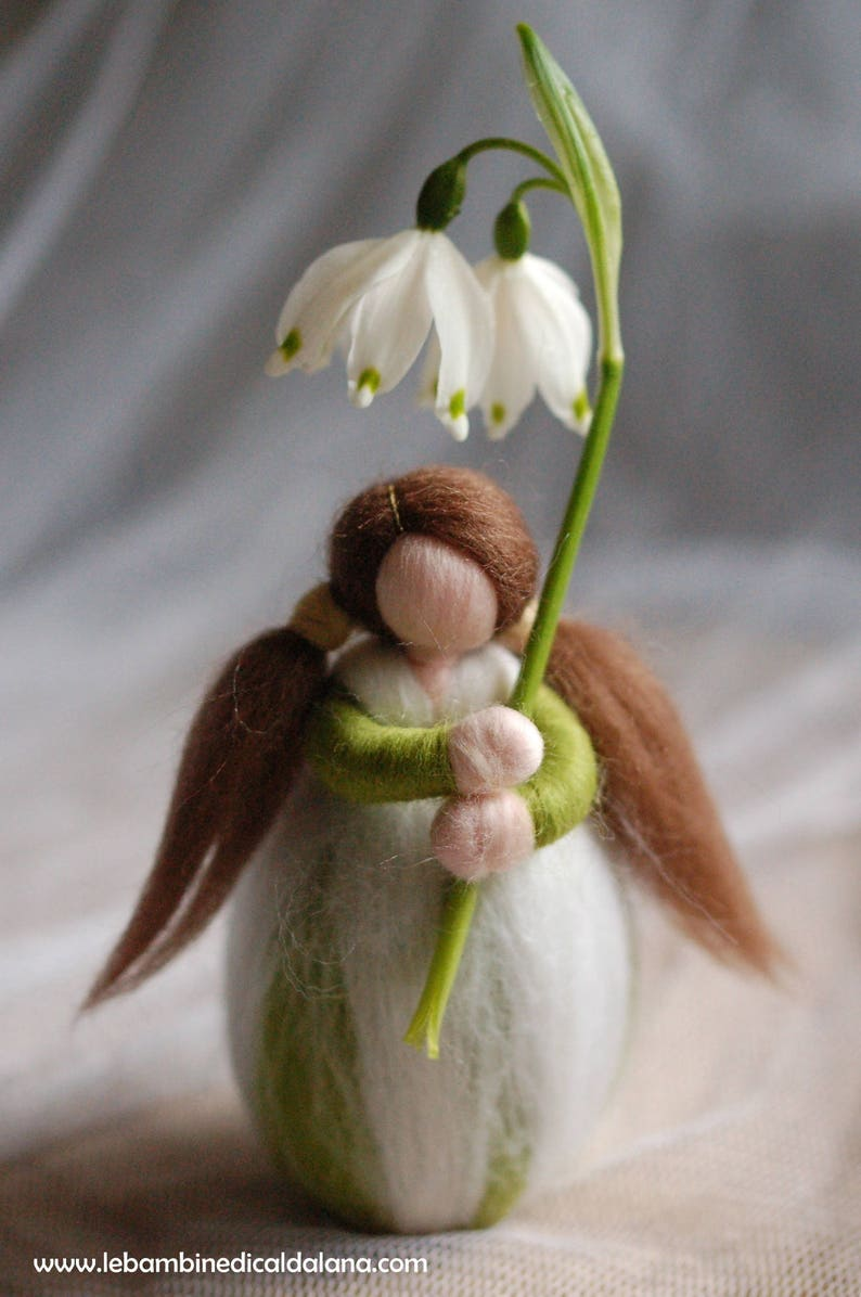 Snowdrops fairy tale wool dolly Waldorf inspiration house image 0