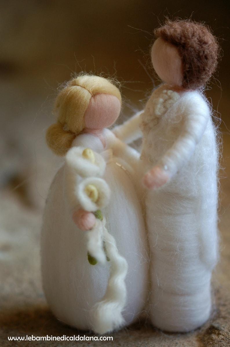 Newlyweds fairy tale wool Waldorf inspiration wedding cake image 0