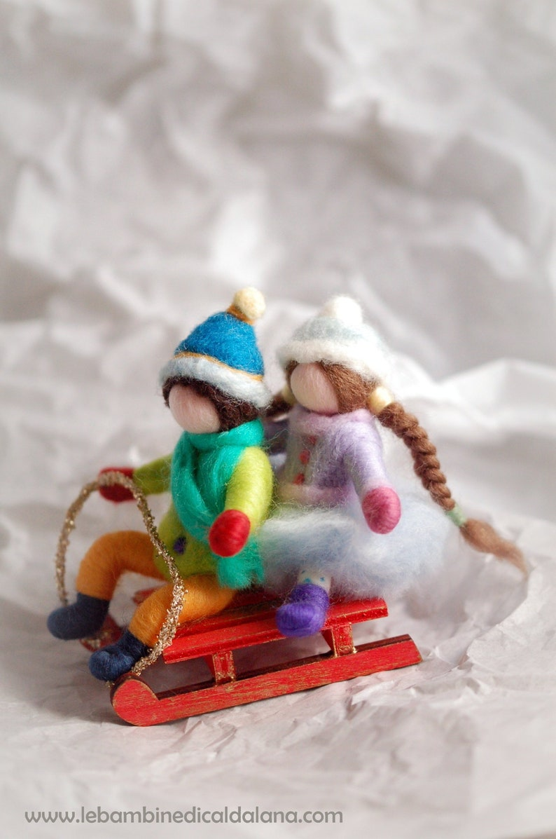 Sled with kids carillon wool fairy tale inspired Waldorf image 0