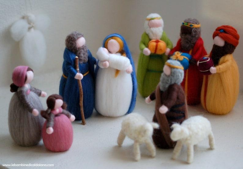 Nativity Three Wise Men Family Shepherds two sheep angel image 0