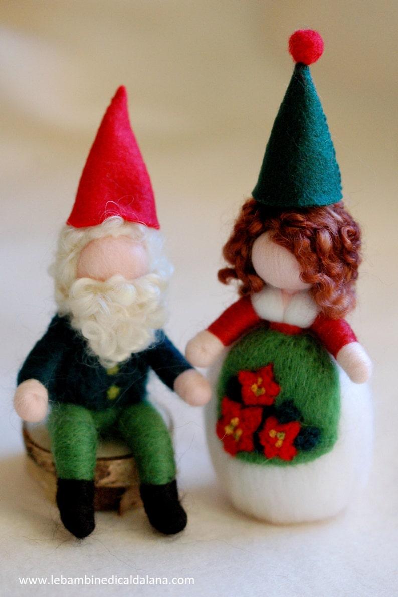 Couple Christmas gnomes fairy tale wool Waldorf inspiration image 0