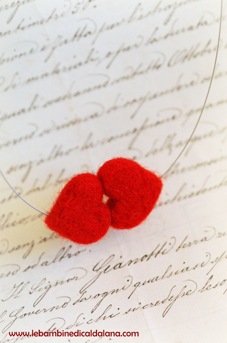 Kiss of hearts necklace fairytale wool Waldorf inspiration image 0