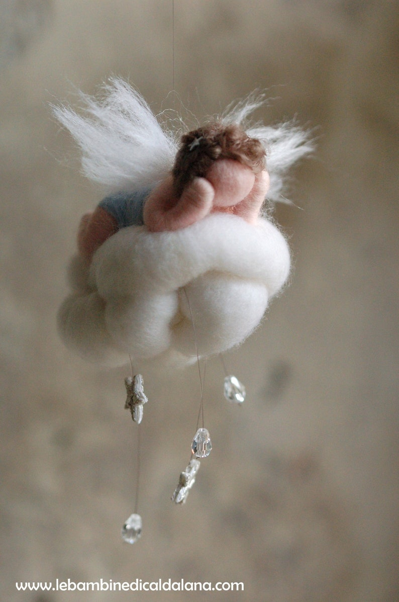 Baby Angel on the Little cloud birth wool fairy tale image 0