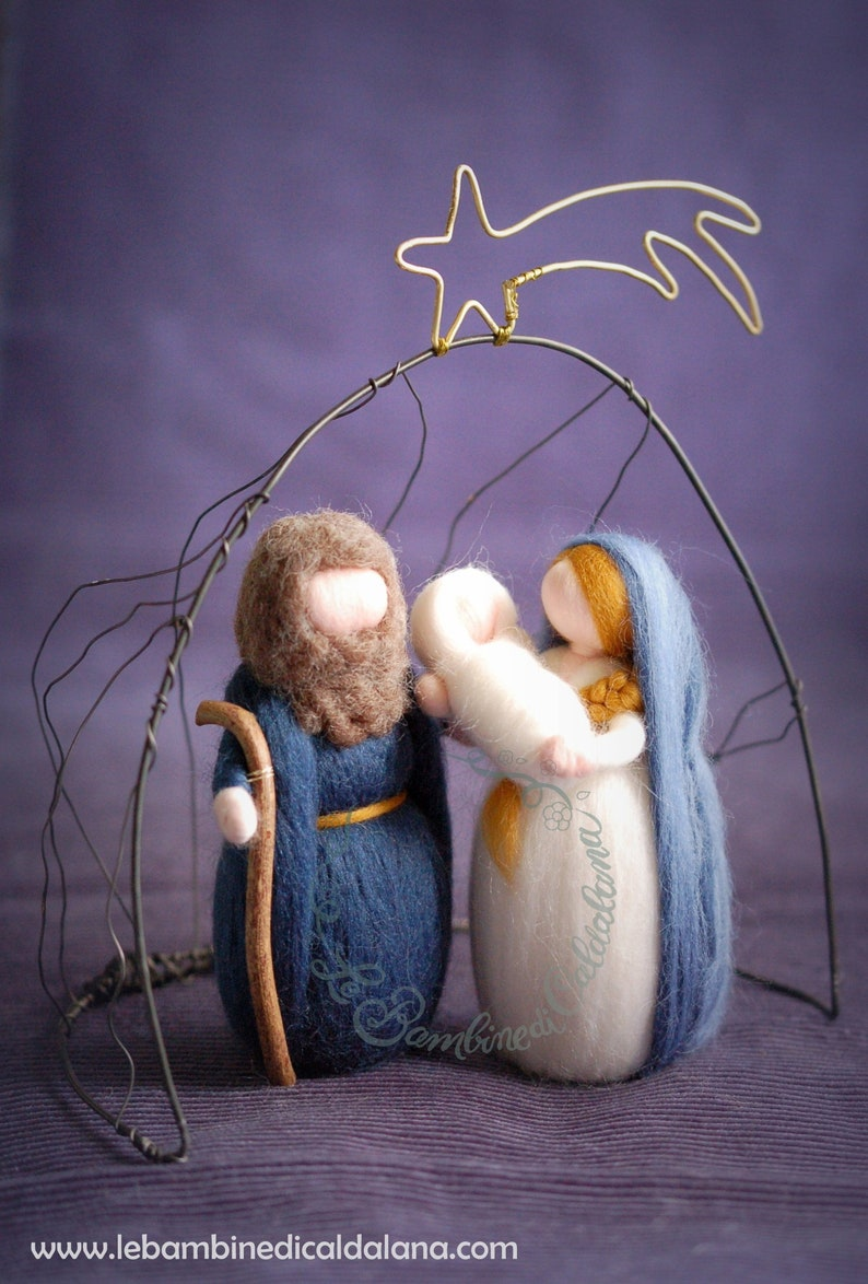 Nativity with Cave in iron wire crib wool fairytale inspired image 0
