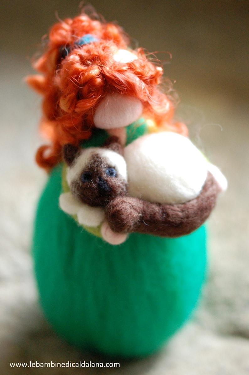 Girl & Cat Wool fairy tale Waldorf inspiration image 0