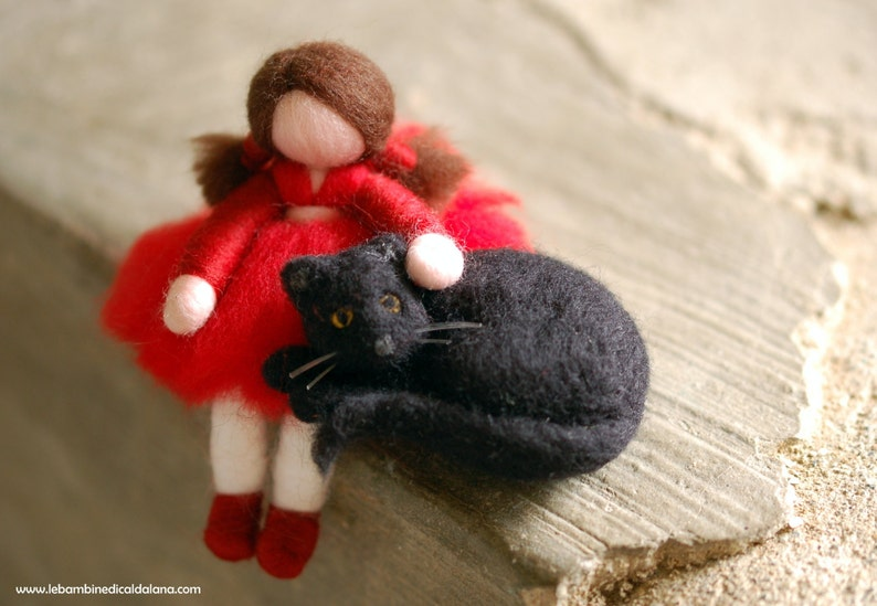 Girl and cat tale wool Waldorf inspired image 0