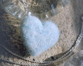 Heart necklace, blue, in fairytale wool, Waldorf inspiration