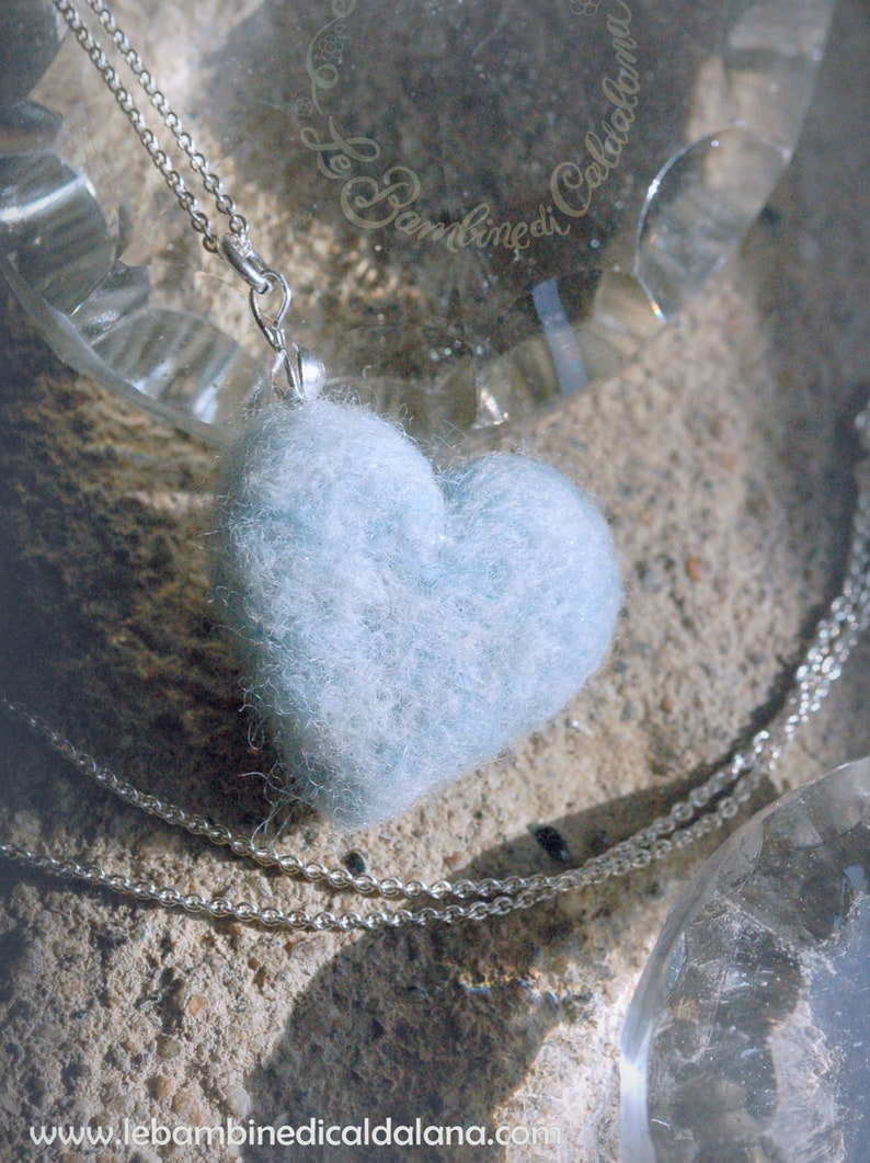Heart necklace blue in fairytale wool Waldorf inspiration image 0