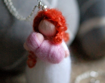 Curly Mom necklace, fairytale wool, Waldorf inspiration