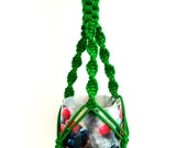 Green mini macrame plant hanger Hanging plated 10 inches 3mm Window decor Flower pot Planter pattern Wall hanging Gift idea Plant holder