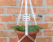 White mini macrame plant hanger 20 inches 3mm Macrame plant holder Gift idea Indoor or outdoor decor Hanging planter Flower pot Wall hanging