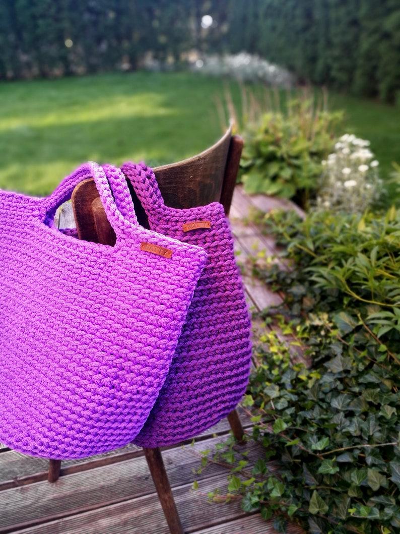 Shopping bag Knitted large summer bag Pouch Rope crochet bag Handmade sack Colored summer beach pouch Handmade boho bag Tote Macrame bag