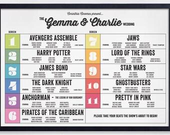Cinema billboard table plan (Printable)