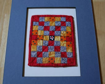 """Red And Blue 63 Square Mini-Quilt--5"""" x 4""""--Matted--Home Decor--Includes shipping"""