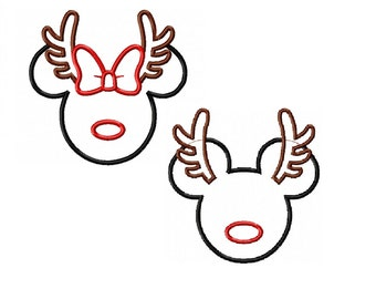 Miss and Mister Mouse Reindeer Applique