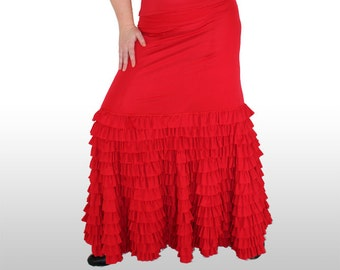PROFESSIONAL FLAMENCO SKIRT - Available as dress or skirt! Various colours. Frill maxi skirt. Womens frilly skirt. Dance Show Costume