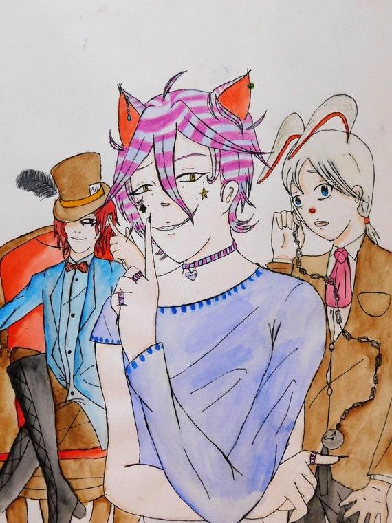 Alice au pays des merveilles Cheshire Cat Earring Studs Clous Bijoux Dangler Unisex Anime