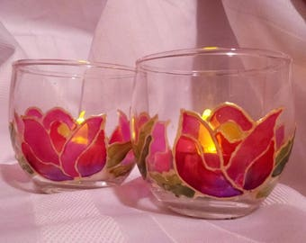 Handpainted Tulip votive set, one of a kind Christmas gift, stocking stuffer, candle holders