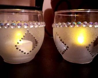 Silver diamond votive set, handpainted, Christmas gift, stocking stuffer, candle holders