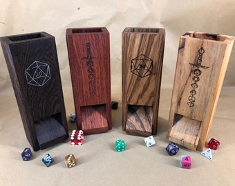 Engraved Wooden Dice Towers for Dungeons & Dragons