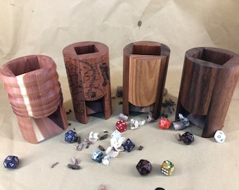 Hand Carved Cylindrical Wooden Dice Towers for Dungeons & Dragons