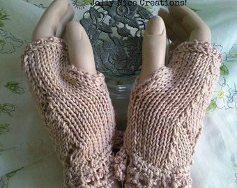TIME for TEA - hand-knitted fingerless lacy gloves with crocheted and beaded edging in warm beige - Size M/L - 100% cotton - FREE Uk postage