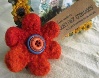FELT FLOWER BROOCH (Small) - Hand-knitted & felted corsage with button centre - Orange/Blue -Free Uk postage