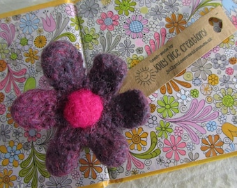 FELT FLOWER BROOCH (Medium) - Hand-knitted & felted corsage with needle felted centre - Purple/Cerise Pink -Free Uk postage